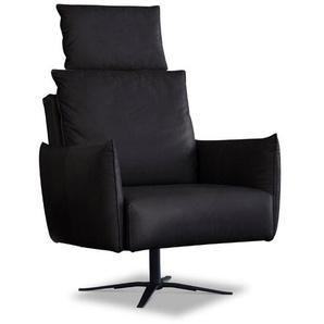 Schöner Wohnen Sessel, Anthrazit / Grau, Leder