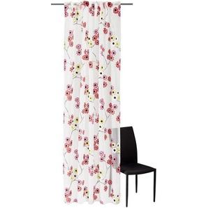 Schöner Wohnen Vorhangschal 130/250 cm , Weiß, Weiß, Blau, Beige , Textil , Floral , 130x250 cm
