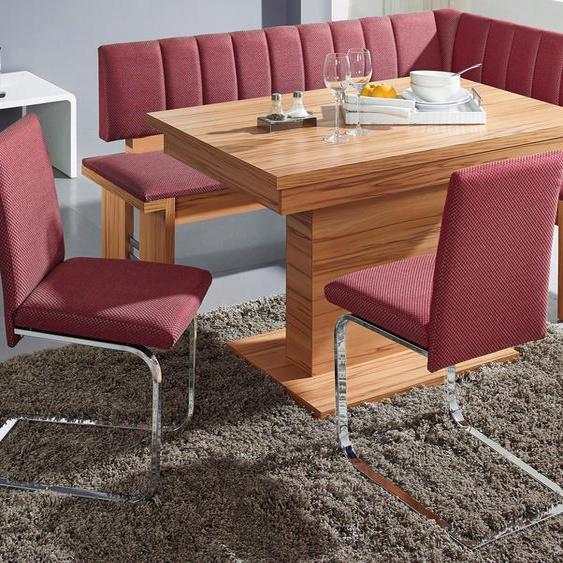 SCHÖSSWENDER Eckbankgruppe Falco, (Set, 4 tlg.), Eckbank umstellbar, Säulentisch mit Schiebeplattenfunktion 120(160) cm Polyester, rosa Sitzbänke Nachhaltige Möbel