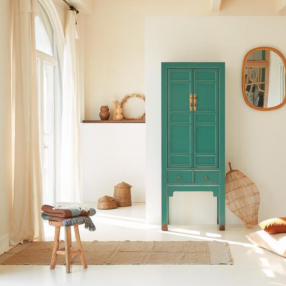 Schrank Hochschrank aus Pinie blau asiatisch 190cm authentisch chinesisch