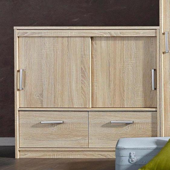 Schrank mit Schiebetüren, 96x90x57 cm (BxHxT), , beige, Material Kunststoff, Metall