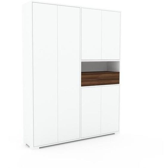 Schrank Weiß - Moderner Schrank: Schubladen in Nussbaum & Türen in Weiß - Hochwertige Materialien - 152 x 196 x 35 cm, konfigurierbar