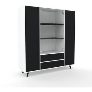 Schank Weiß - Moderner Schrank: Schubladen in Schwarz & Türen in Schwarz - Hochwertige Materialien - 154 x 168 x 47 cm, konfigurierbar