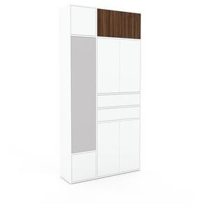 Schank Weiß - Moderner Schrank: Schubladen in Weiß & Türen in Weiß - Hochwertige Materialien - 116 x 233 x 35 cm, konfigurierbar