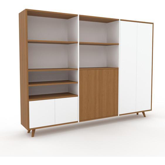 Schrank Weiß - Moderner Schrank: Türen in Weiß - Hochwertige Materialien - 226 x 168 x 35 cm, Selbst zusammenstellen