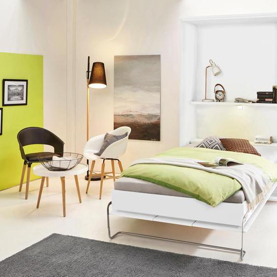 Schrankbett, weiß, Material Holzwerkstoff / Federn, priess, mit Beleuchtung