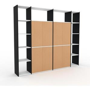 Schrankwand Schwarz - Moderne Wohnwand: Türen in Buche - Hochwertige Materialien - 229 x 195 x 35 cm, Konfigurator