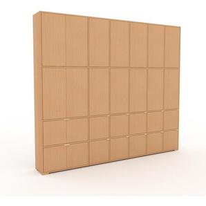 Schrankwand Buche - Moderne Wohnwand: Türen in Buche - Hochwertige Materialien - 270 x 235 x 35 cm, Konfigurator