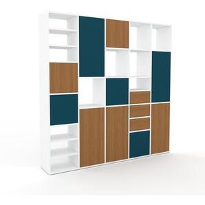 Schrankwand Weiß - Moderne Wohnwand: Schubladen in Eiche & Türen in Eiche - Hochwertige Materialien - 195 x 195 x 35 cm, Konfigurator