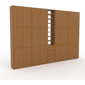 Schrankwand Eiche - Moderne Wohnwand: Schubladen in Eiche & Türen in Eiche - Hochwertige Materialien - 339 x 233 x 35 cm, Konfigurator