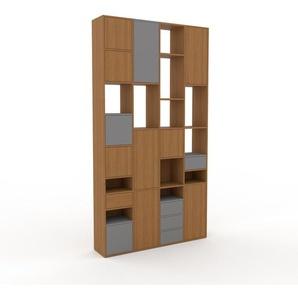 Schrankwand Eiche - Moderne Wohnwand: Schubladen in Grau & Türen in Eiche - Hochwertige Materialien - 156 x 291 x 35 cm, Konfigurator