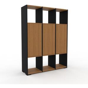 Schrankwand Schwarz - Moderne Wohnwand: Türen in Eiche - Hochwertige Materialien - 118 x 158 x 35 cm, Konfigurator