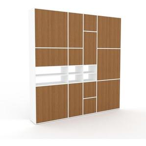 Schrankwand Weiß - Moderne Wohnwand: Türen in Eiche - Hochwertige Materialien - 229 x 233 x 35 cm, Konfigurator