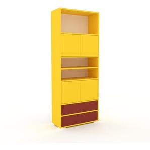 Schrankwand Gelb - Moderne Wohnwand: Schubladen in Rot & Türen in Gelb - Hochwertige Materialien - 77 x 196 x 35 cm, Konfigurator