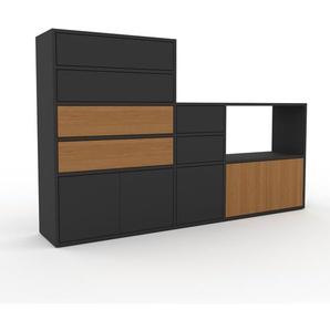 Schrankwand Anthrazit - Moderne Wohnwand: Schubladen in Anthrazit & Türen in Anthrazit - Hochwertige Materialien - 190 x 118 x 35 cm, Konfigurator