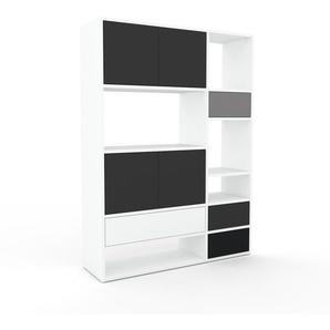 Schrankwand Weiß - Moderne Wohnwand: Schubladen in Weiß & Türen in Anthrazit - Hochwertige Materialien - 116 x 157 x 35 cm, Konfigurator