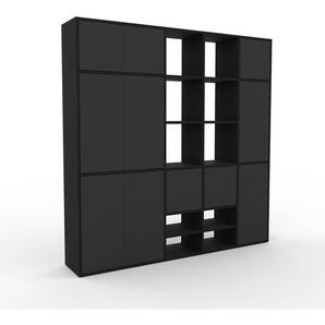 Schrankwand Schwarz - Moderne Wohnwand: Türen in Anthrazit - Hochwertige Materialien - 193 x 195 x 35 cm, Konfigurator