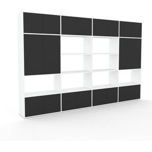 Schrankwand Weiß - Moderne Wohnwand: Türen in Anthrazit - Hochwertige Materialien - 301 x 195 x 35 cm, Konfigurator