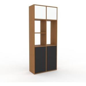 Schrankwand Eiche - Moderne Wohnwand: Türen in Anthrazit - Hochwertige Materialien - 79 x 195 x 35 cm, Konfigurator