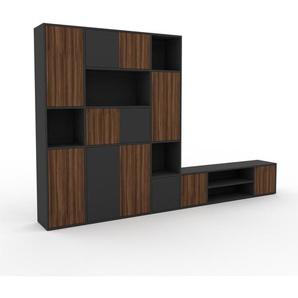 Schrankwand Anthrazit - Moderne Wohnwand: Türen in Nussbaum - Hochwertige Materialien - 306 x 195 x 35 cm, Konfigurator