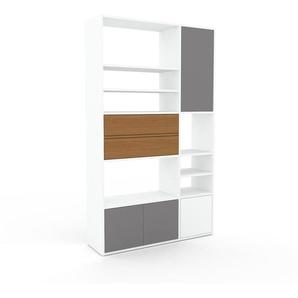 Schrankwand Weiß - Moderne Wohnwand: Schubladen in Eiche & Türen in Grau - Hochwertige Materialien - 116 x 195 x 35 cm, Konfigurator