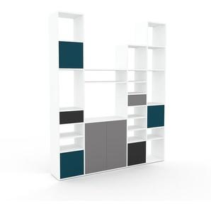 Schrankwand Weiß - Moderne Wohnwand: Schubladen in Anthrazit & Türen in Blau - Hochwertige Materialien - 193 x 233 x 35 cm, Konfigurator
