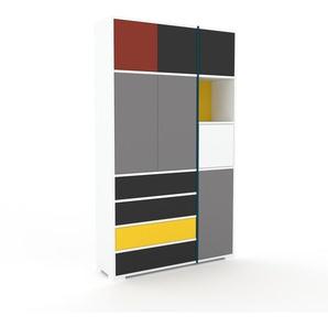 Schrankwand Weiß - Moderne Wohnwand: Schubladen in Anthrazit & Türen in Grau - Hochwertige Materialien - 116 x 196 x 35 cm, Konfigurator