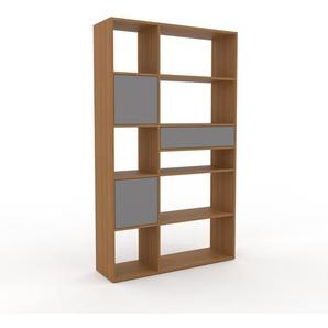 Schrankwand Eiche - Moderne Wohnwand: Schubladen in Grau & Türen in Grau - Hochwertige Materialien - 116 x 195 x 35 cm, Konfigurator