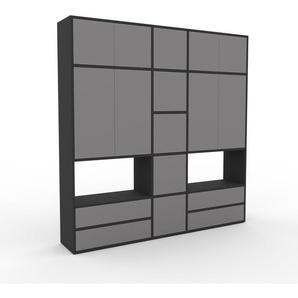 Schrankwand Anthrazit - Moderne Wohnwand: Schubladen in Grau & Türen in Grau - Hochwertige Materialien - 190 x 195 x 35 cm, Konfigurator