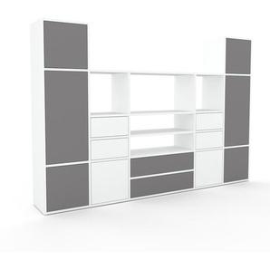 Schrankwand Weiß - Moderne Wohnwand: Schubladen in Weiß & Türen in Grau - Hochwertige Materialien - 231 x 157 x 35 cm, Konfigurator