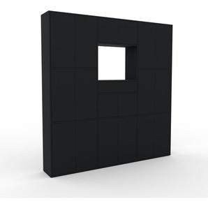 Schrankwand Schwarz - Moderne Wohnwand: Schubladen in Schwarz & Türen in Schwarz - Hochwertige Materialien - 226 x 233 x 35 cm, Konfigurator
