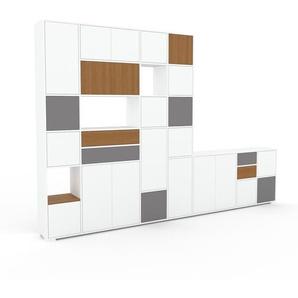 Schrankwand Weiß - Moderne Wohnwand: Schubladen in Eiche & Türen in Weiß - Hochwertige Materialien - 344 x 235 x 35 cm, Konfigurator