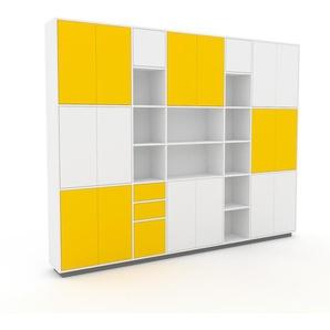 Schrankwand Weiß - Moderne Wohnwand: Schubladen in Gelb & Türen in Weiß - Hochwertige Materialien - 303 x 239 x 35 cm, Konfigurator