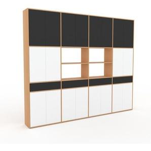 Schrankwand Buche - Moderne Wohnwand: Schubladen in Anthrazit & Türen in Weiß - Hochwertige Materialien - 301 x 253 x 35 cm, Konfigurator