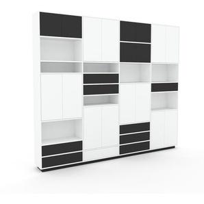 Schrankwand Weiß - Moderne Wohnwand: Schubladen in Anthrazit & Türen in Weiß - Hochwertige Materialien - 301 x 258 x 35 cm, Konfigurator