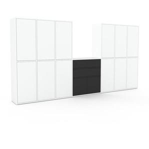 Schrankwand Weiß - Moderne Wohnwand: Schubladen in Anthrazit & Türen in Weiß - Hochwertige Materialien - 308 x 157 x 35 cm, Konfigurator