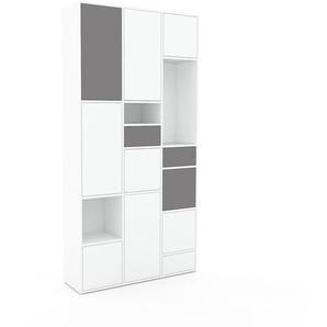 Schrankwand Weiß - Moderne Wohnwand: Schubladen in Grau & Türen in Weiß - Hochwertige Materialien - 118 x 234 x 35 cm, Konfigurator