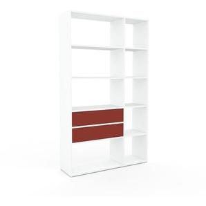 Schrankwand Weiß - Moderne Wohnwand: Schubladen in Rot - Hochwertige Materialien - 116 x 195 x 35 cm, Konfigurator