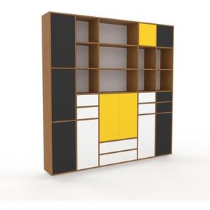 Schrankwand Eiche - Moderne Wohnwand: Schubladen in Weiß & Türen in Anthrazit - Hochwertige Materialien - 231 x 239 x 35 cm, Konfigurator