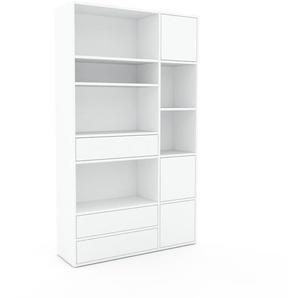 Schrankwand Weiß - Moderne Wohnwand: Schubladen in Weiß & Türen in Weiß - Hochwertige Materialien - 116 x 195 x 35 cm, Konfigurator