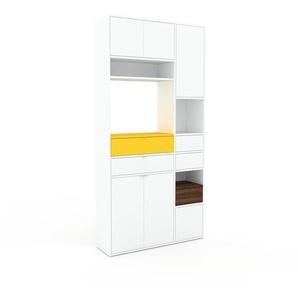 Schrankwand Weiß - Moderne Wohnwand: Schubladen in Weiß & Türen in Weiß - Hochwertige Materialien - 116 x 233 x 35 cm, Konfigurator