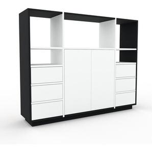 Schrankwand Schwarz - Moderne Wohnwand: Schubladen in Weiß & Türen in Weiß - Hochwertige Materialien - 154 x 124 x 35 cm, Konfigurator