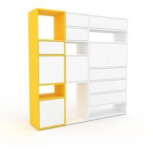 Schrankwand Gelb - Moderne Wohnwand: Schubladen in Weiß & Türen in Weiß - Hochwertige Materialien - 154 x 157 x 35 cm, Konfigurator