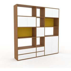Schrankwand Eiche - Moderne Wohnwand: Schubladen in Weiß & Türen in Weiß - Hochwertige Materialien - 190 x 195 x 35 cm, Konfigurator