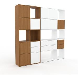 Schrankwand Eiche - Moderne Wohnwand: Schubladen in Weiß & Türen in Weiß - Hochwertige Materialien - 193 x 195 x 35 cm, Konfigurator