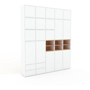 Schrankwand Weiß - Moderne Wohnwand: Schubladen in Weiß & Türen in Weiß - Hochwertige Materialien - 195 x 233 x 35 cm, Konfigurator