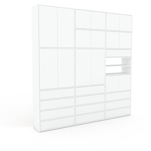 Schrankwand Weiß - Moderne Wohnwand: Schubladen in Weiß & Türen in Weiß - Hochwertige Materialien - 226 x 233 x 35 cm, Konfigurator