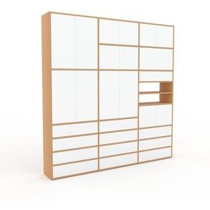 Schrankwand Buche - Moderne Wohnwand: Schubladen in Weiß & Türen in Weiß - Hochwertige Materialien - 226 x 233 x 35 cm, Konfigurator