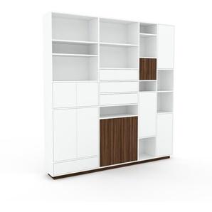 Schrankwand Weiß - Moderne Wohnwand: Schubladen in Weiß & Türen in Weiß - Hochwertige Materialien - 229 x 239 x 35 cm, Konfigurator