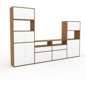Schrankwand Eiche - Moderne Wohnwand: Schubladen in Weiß & Türen in Weiß - Hochwertige Materialien - 301 x 195 x 35 cm, Konfigurator